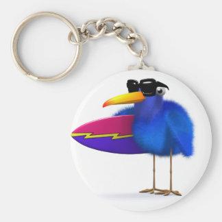 3d Blue Bird Surfboard Key Ring