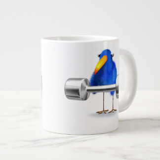 3d Blue Bird Weightlifter Large Coffee Mug