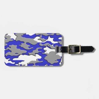 3d blue camo luggage tag