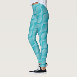 3d blue pattern leggings