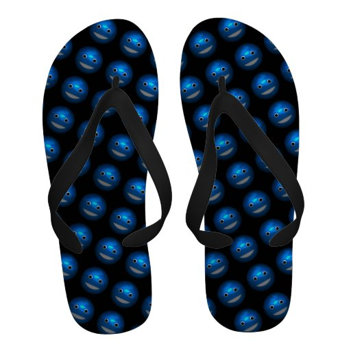 3d Blue Smiley Funny Round Faces Angled Sandals