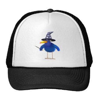 3d Bluebird Cute Wizard Trucker Hats