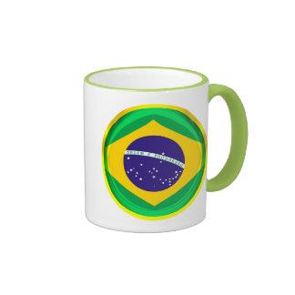 3D Brazil flag Ringer Mug
