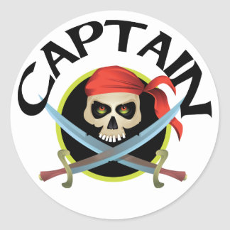 3D Captain Round Sticker