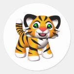 3D Cartoon Tiger Cub Round Sticker