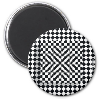 3D checkerboard optical illusion 6 Cm Round Magnet