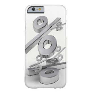 3D chrome percent symbols falling on a white Barely There iPhone 6 Case