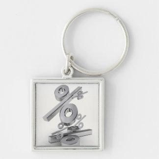 3D chrome percent symbols falling on a white Silver-Colored Square Key Ring