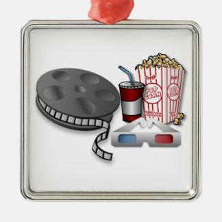 3D Cinema Silver-Colored Square Decoration