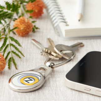 3D, circular Forms, degraded yellow Silver-Colored Oval Key Ring