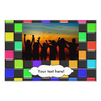 3d colorful squares pattern photo print