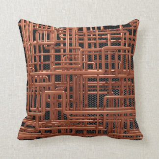 3d Copper Piping - Background Editable Throw Pillow