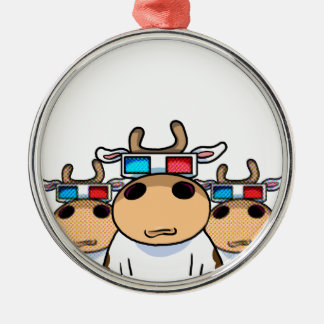 3D Cow specs Christmas Ornament