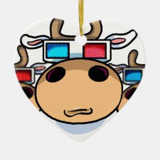 3D Cow specs Christmas Ornament