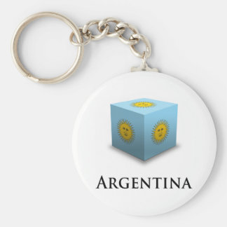 3D Cube Argentina Basic Round Button Key Ring