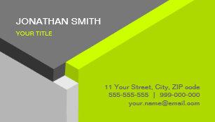 3d business cards zazzle uk 3d cube design lime grey business card colourmoves