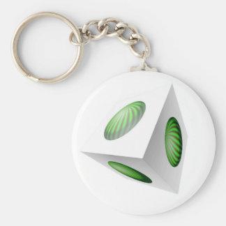 3D Cube Design with Green Globe Basic Round Button Key Ring