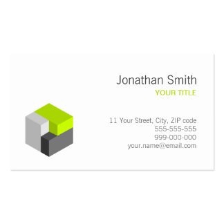 3D Cube Lime / Grey business card
