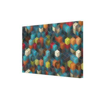 3D cubes abstract design Stretched Canvas Prints