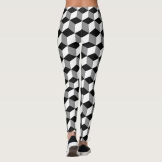 3D Cubes Pattern in Silver Grey Black&White Leggings
