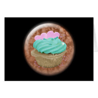 3D cupcake with hearts Greeting Cards