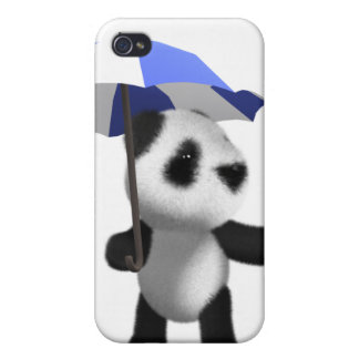3d Cute Baby Panda with Umbrella iPhone 4 Cases