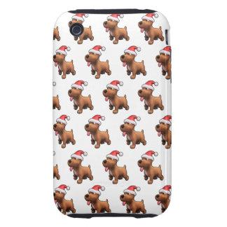 3d Cute Dog Santa (Editable BG Color!) Tough iPhone 3 Covers