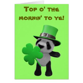 3d Cute Panda Leprechaun (editable) Greeting Card