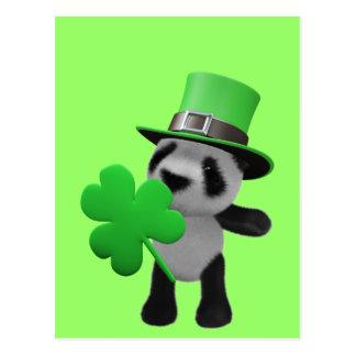 3d Cute Panda Leprechaun editable Postcards
