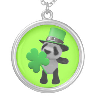 3d Cute Panda Leprechaun (editable) Round Pendant Necklace