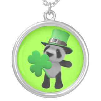 3d Cute Panda Leprechaun (editable) Silver Plated Necklace