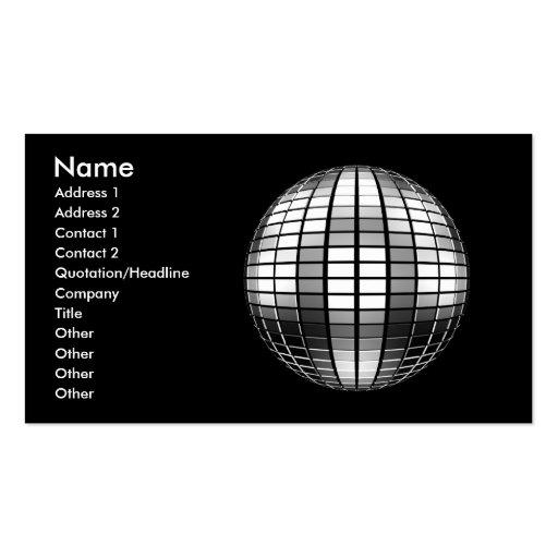 3D Disco Mirror Ball Business Card Templates