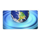 3D Earth Floating on Water Ripples