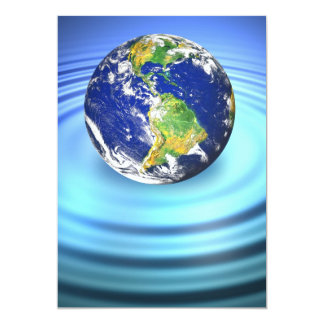 3D Earth Floating on Water Ripples 13 Cm X 18 Cm Invitation Card