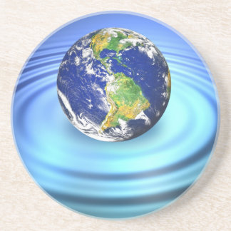 3D Earth Floating on Water Ripples Coaster