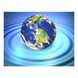 3D Earth Floating on Water Ripples 21.5 Cm X 28 Cm Flyer