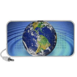 3D Earth Floating on Water Ripples iPod Speaker