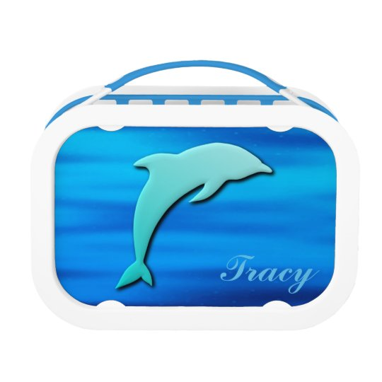 3D Effect Blue Dolphin Monogram Lunch Box