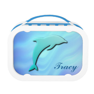 3D Effect Blue Dolphin Monogram Lunchboxes