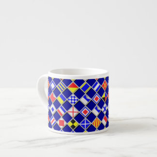 3D Effect Checkered Nautical Flag tiles Motif Espresso Mug