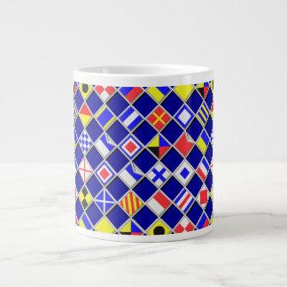 3D Effect Checkered Nautical Flag tiles Motif Jumbo Mug