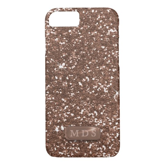 3D Faux Metal Monogram Rose Gold Glitter Bling