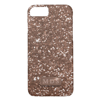 3D Faux Metal Monogram Rose Gold Glitter Bling iPhone 8/7 Case