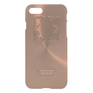 3D Faux Rose Gold Metallic Details Monogram Clear iPhone 8/7 Case