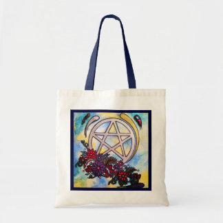 3d floral pentacle tote bag
