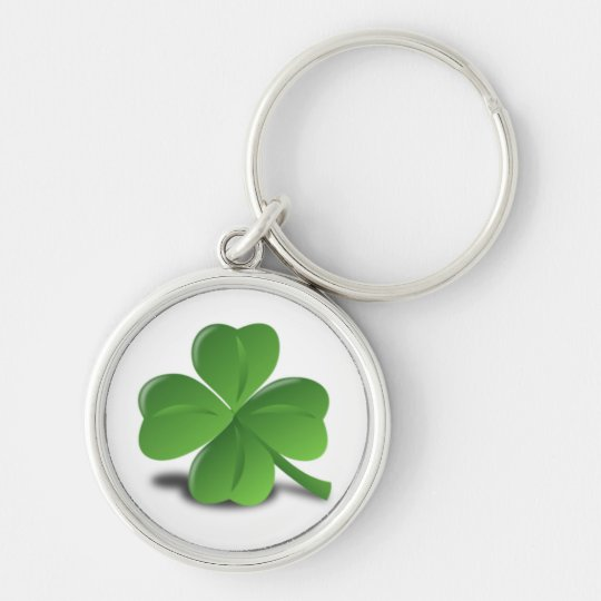 3D Four Leaf Clover Silver-Colored Round Key Ring