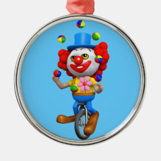 3d Funny Clown Juggles on Unicycle Christmas Ornament