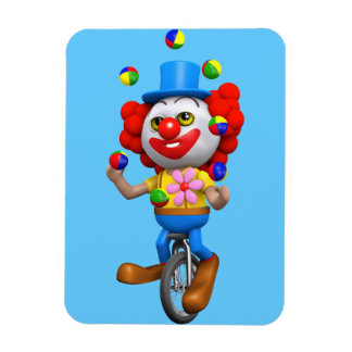 3d Funny Clown Juggles on Unicycle Rectangular Photo Magnet