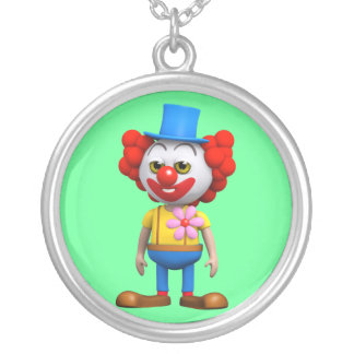 3d Funny Clown Silver Plated Necklace