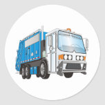 3d Garbage Truck Blue and White  Cab Round Stickers